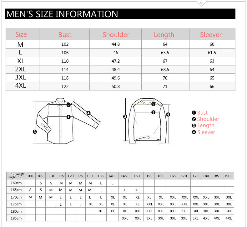 Clothing Size Chart For Mens