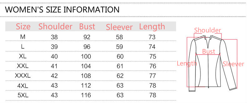 Clothing Size Chart For Womens