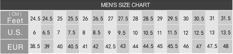 Shoes Size Chart For Mens