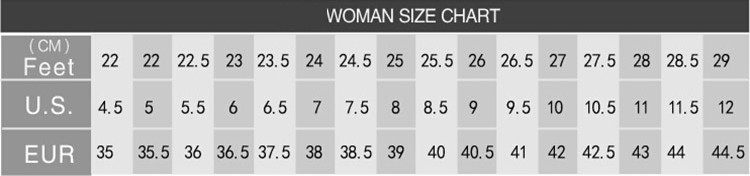 Shoes Size Chart For Womens