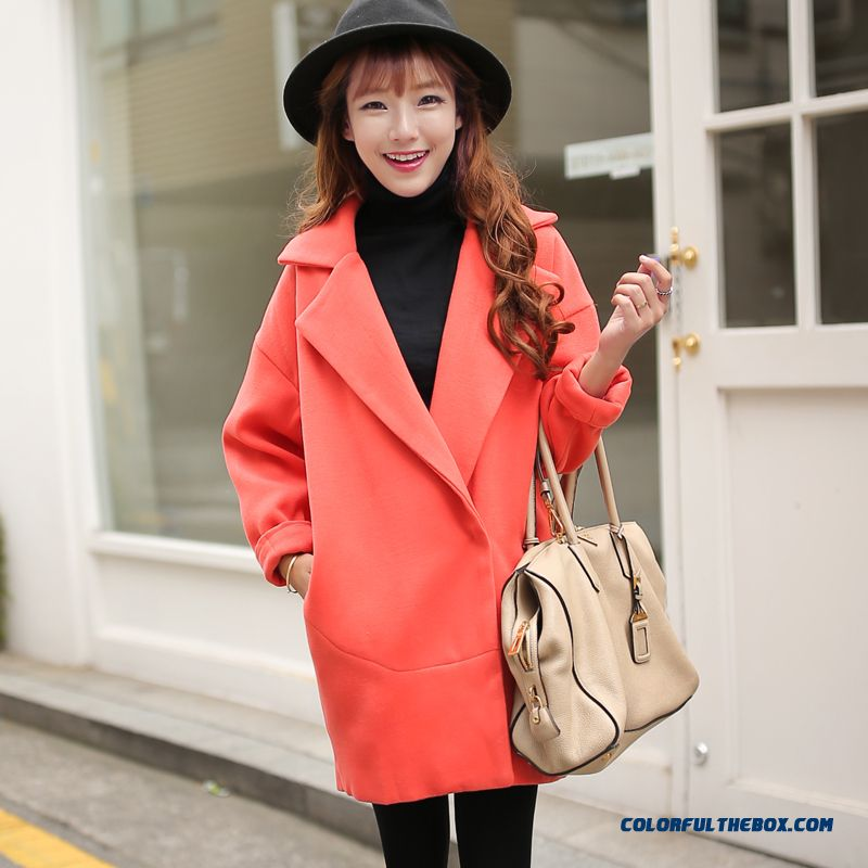 2015 Autumn New Large Size Women Thin Candy-colored Long Sections Woolen Coat Coat