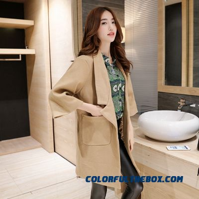 2015 New Spring And Autumn High Quality Fashion Slim Suit Loose Lapel Women's Woolen Coat