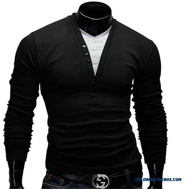 2016 New Wild Men's Fashion Spell Color V-neck T-shirt Fake Two Men's Casual Long-sleeved T-shirt