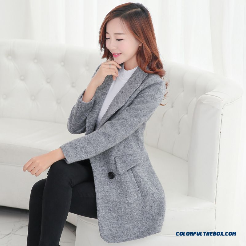 2016 New Winter Woolen Coat Women Korean Version Of Slim Medium-long Woolen Coat Free Shipping