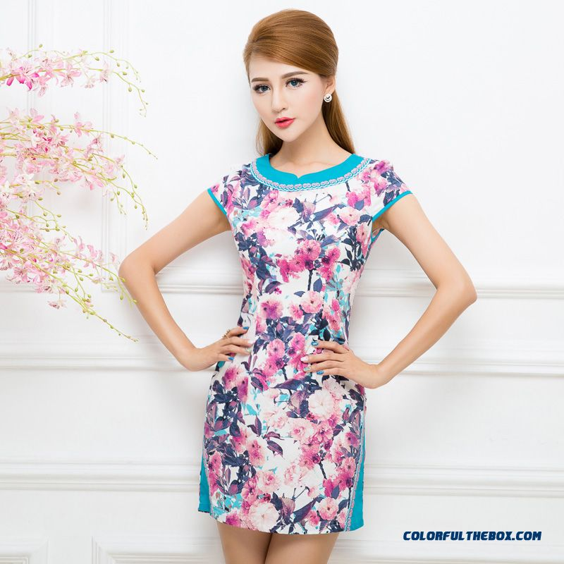 Cheap 2016 Summer Women New Chinese Style Print Dress