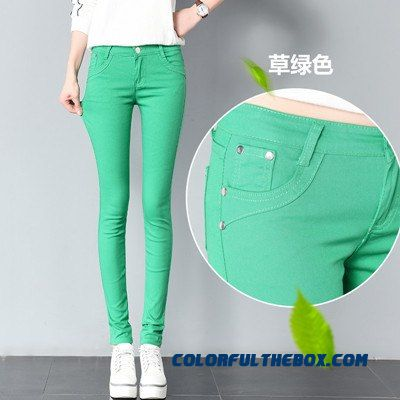 2018 Spring Women's Basic Pants Pencil Casual Trousers Elastic Pants For Women Slim Ladies Jean Trousers Female Many Color