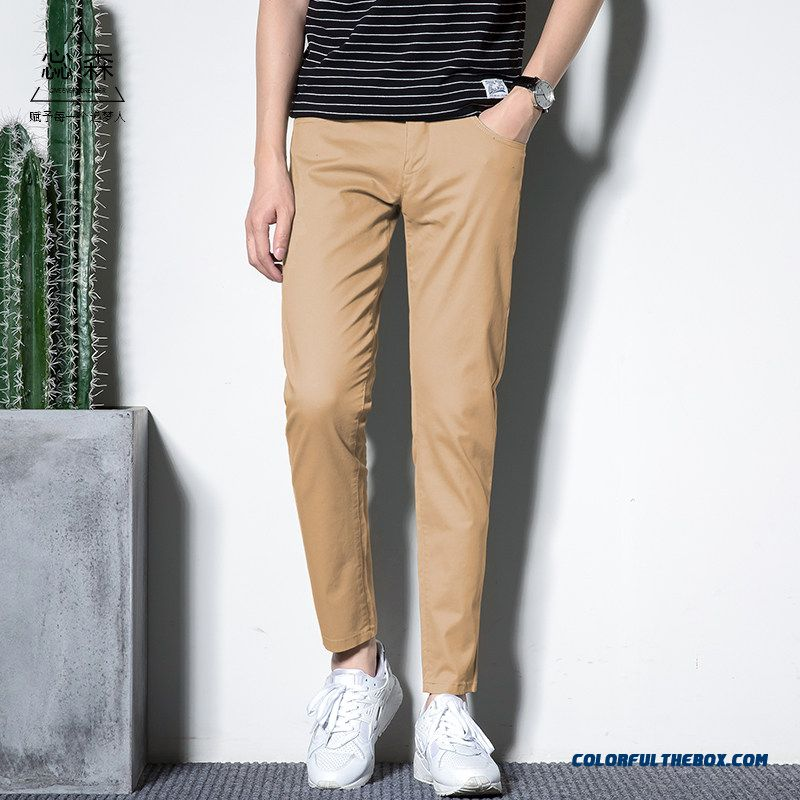 2019 Men's Trend Straight Summer Europe Pants Slim Spring Leisure Red All-match Ninth Pants