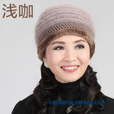 Angora Wool Knitted Cap Elderly The Elderly Hat 5 Kinds Of Color Hat  Women s Accessories ... 7f43261cc1ee