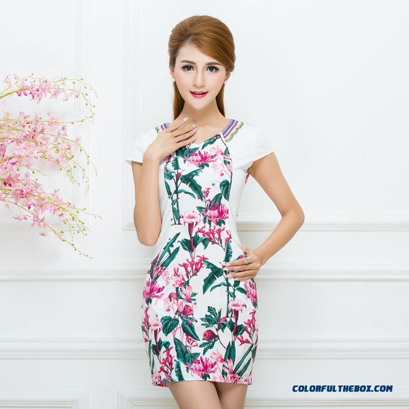 Authentic Women's 2016 Summer New Ethnic Style Printing Laies Dress Promotion