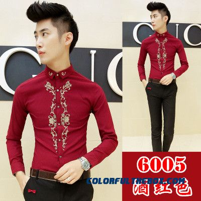Autumn And Winter Men's Long-sleeved Shirt Korean Version Of Slim Casual Embroidery