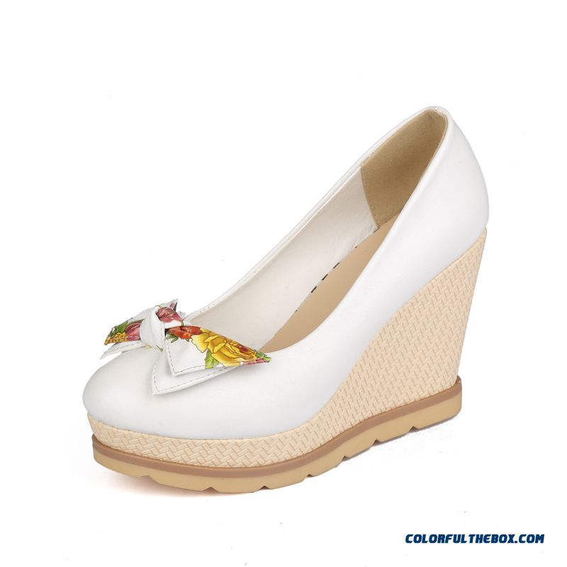 Autumn Sweet Bow-tie Round-toe Wedge Heel Shallow Mouth High-heeled Pumps Women Shoes