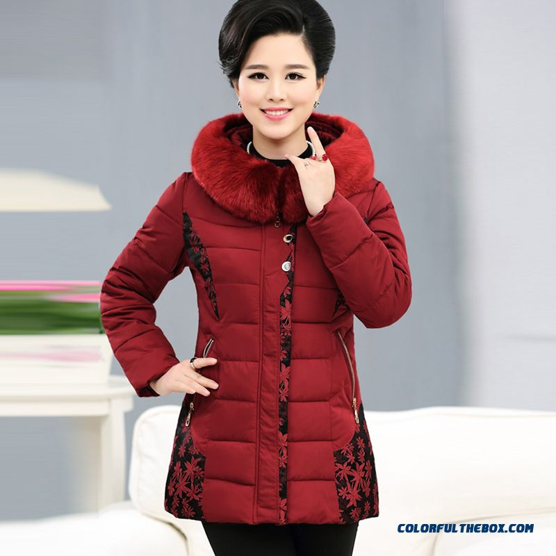 Cheap Big Promotion Middle-aged Ladies Winter Fur Collar Coat