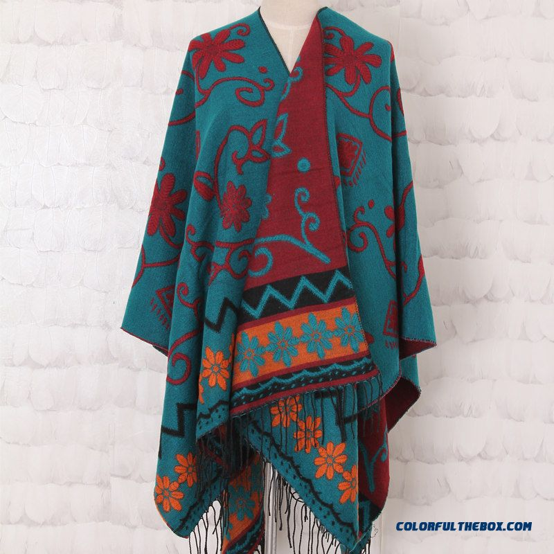 Bohemian Ladies Winter Cashmere Shawl Women Scarves Dual-purpose Ethnic Style Doul-sided Cape Cloak