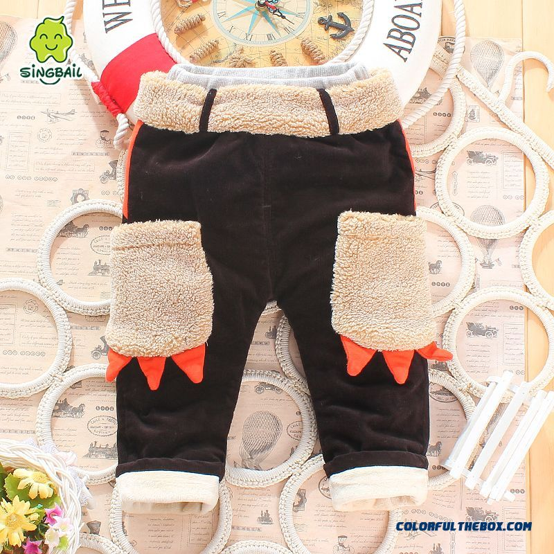 Boys And Girls Corduroy Cotton Pants Plus Thick Velvet Pants Cartoon Handsome All-match Kids Clothing