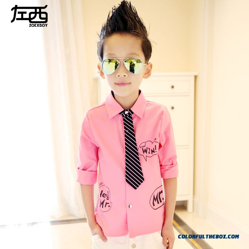Boys Long Sleeved Pink Whiet Black Blouse Shirt Kids 3 Color Of Clothing