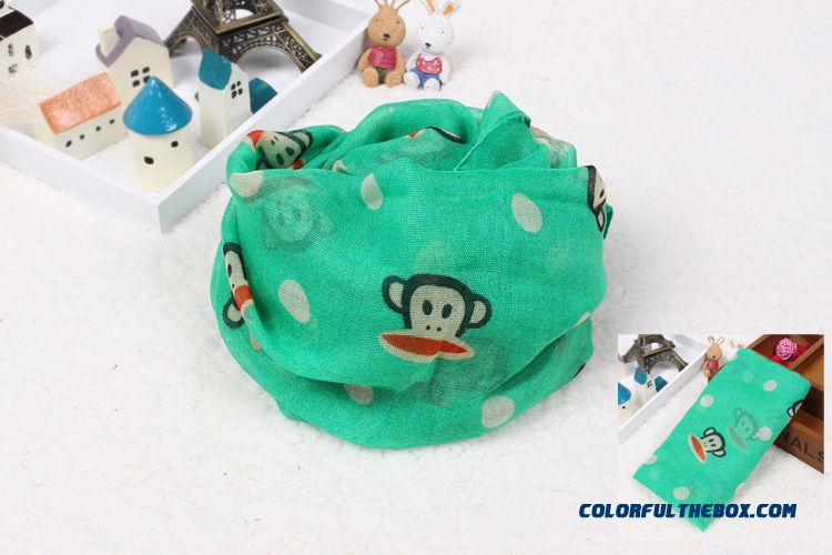 Boys Monkey Printing Cotton Yarn Multicolor Scarves Parent-child Mother And Son Style Accessories