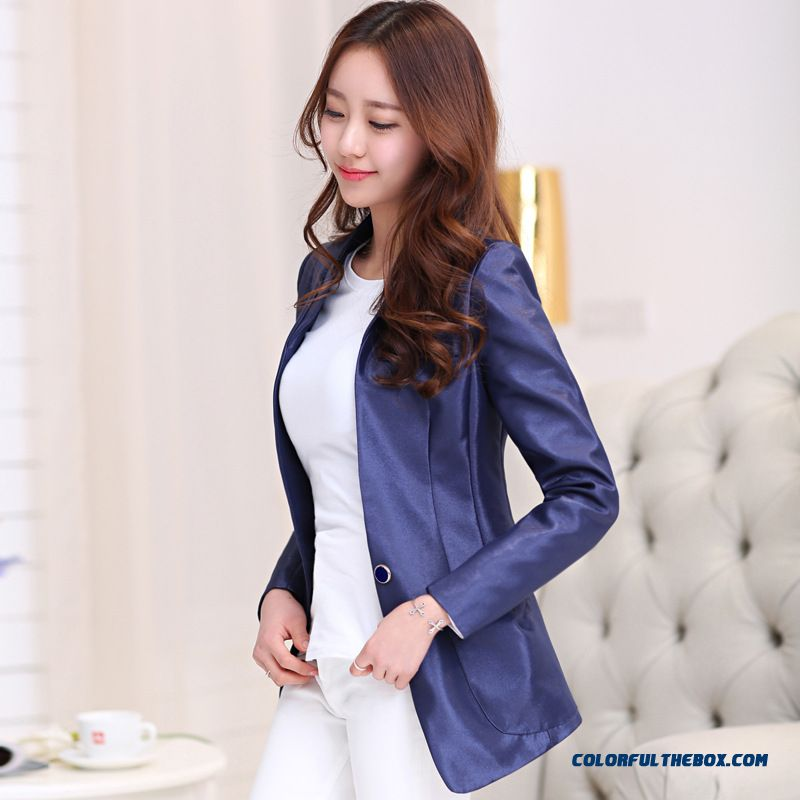 Cheap Buckle Small Suit Lady Jacket Korean Cultivating Long Sleeved Business Suit For Women Sale Online