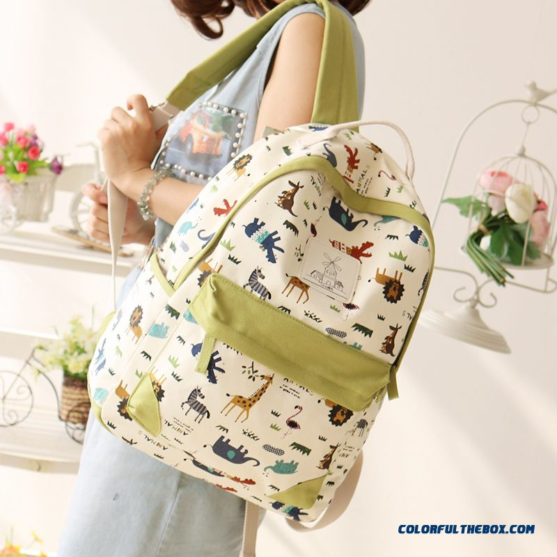 517aba073e65 ... Canvas Wearable Backpack Animal Print Travel Backpacks Student Girl  Schoolbags For Women ...