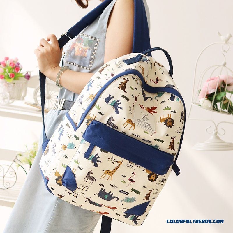 4df88c9dff8e ... Canvas Wearable Backpack Animal Print Travel Backpacks Student Girl  Schoolbags For Women