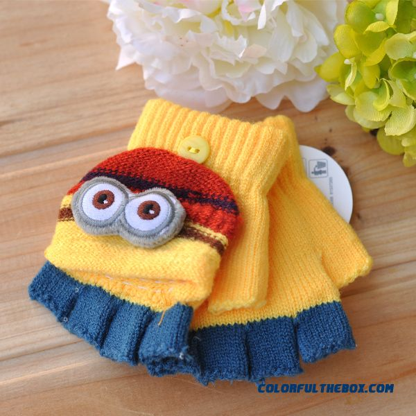 Cheap Closeout Accessories Kids Mittens Cute Little Yellow Doll Boys And Girls Clamshell Fingerless Warm Wool Autumn And Winter Thickening Half Fingers Students Write Gloves