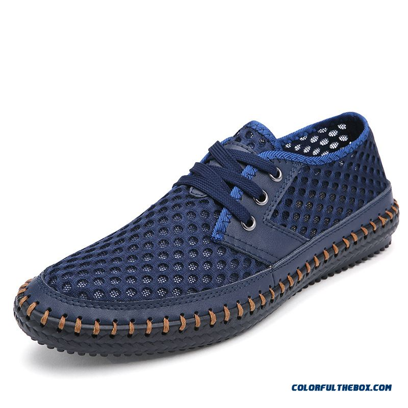 Cheap Men Shoe Genuine Leather Breathable Matching Men Flats Casual Male Mesh Shoes Size 38-46 Top Quality Leather Shoes Man