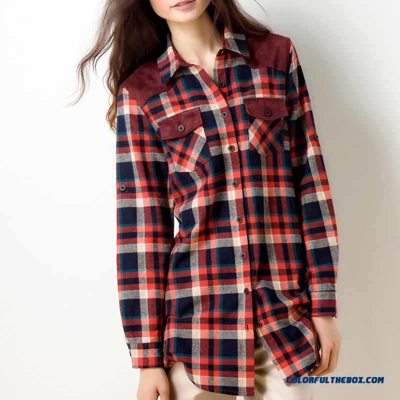 Cheap Wholesale Blouse All-match Brushed Stitching Loose Cotton Medium-long Plaid Shirt