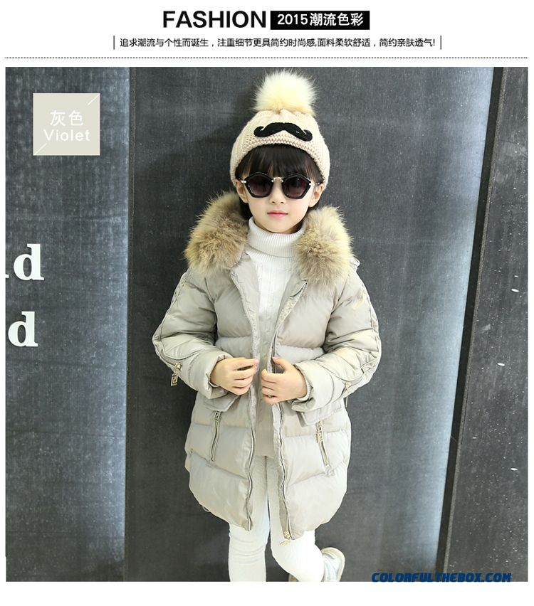 Coat Girl Cotton Big Kids Thicken Hand Plug Down Padded Cotton Grey Pink Clothing With Fur Collar
