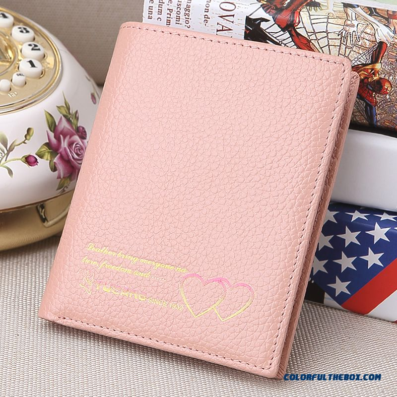 Double Love Pattern New Short Women Wallet Genuine Leather Small Purse Thin Section Vogue Bags
