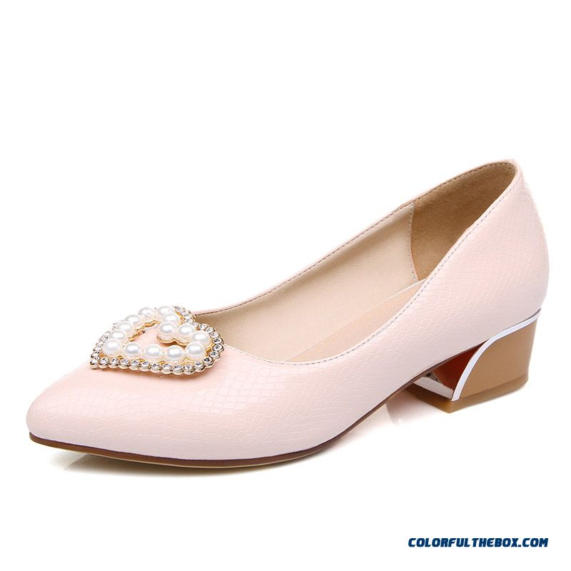Elegant Middle-heels Square Heel Pointed Heart-shaped Pearl Decoration Shallow Mouth Women Pumps