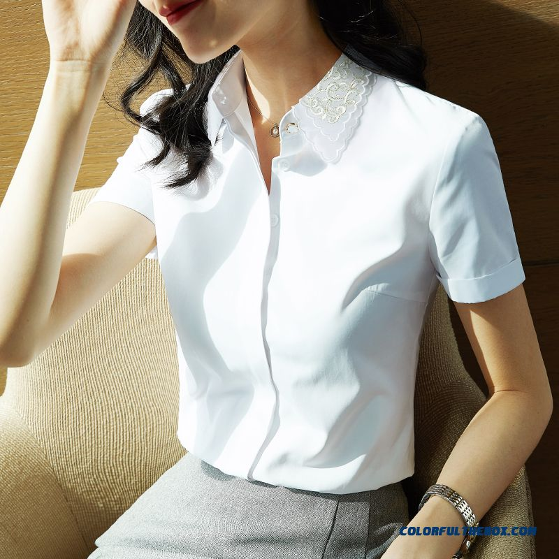 Embroidery 2019 Professional Women's New Products Temperament White Shirt Spring Summer Thin Short Sleeve