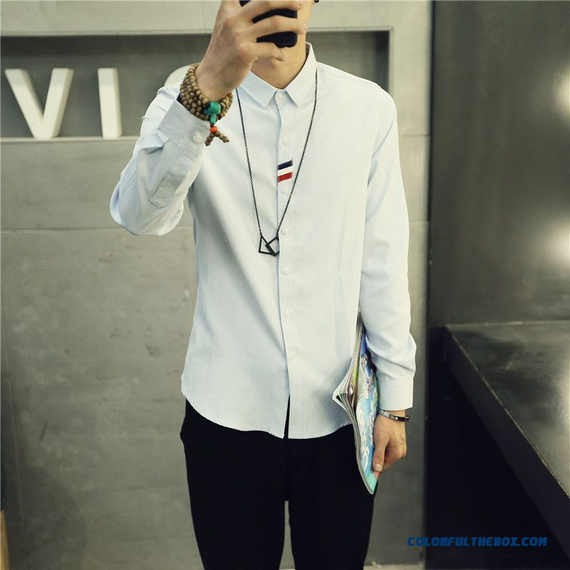 England Style Autumn And Winter Men's Casual Long-sleeved Shirt Slim Solid Color