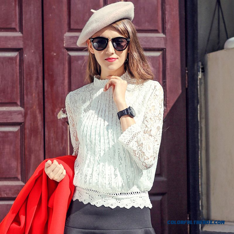 European Stabtion 2016 All-match Women Short-sleeved Shirt Hedging Fashion Stretch Lace Shirts