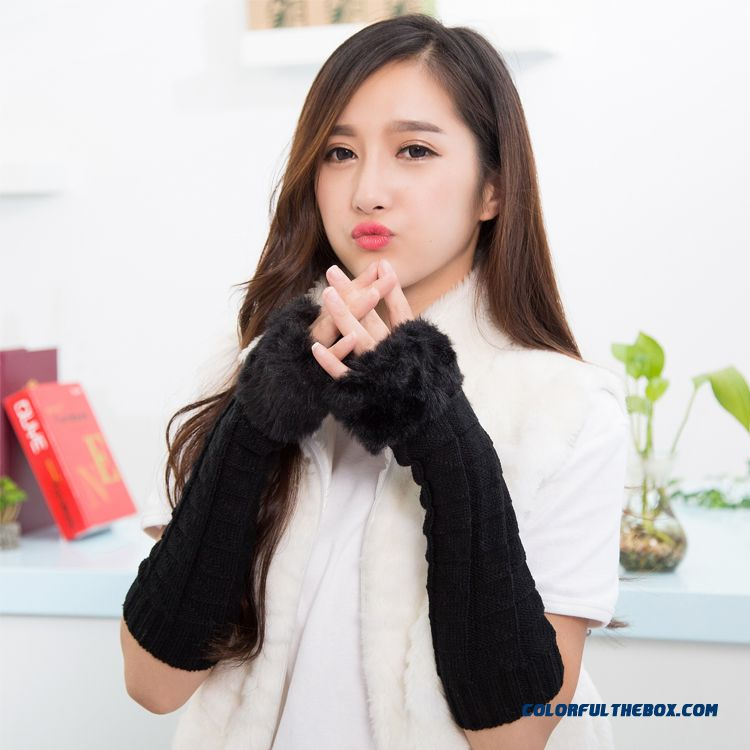 Fabulous Autumn Winter Women Favorite Gloves Knitting Wool Half-finger Long Armband Sleeves Accessories
