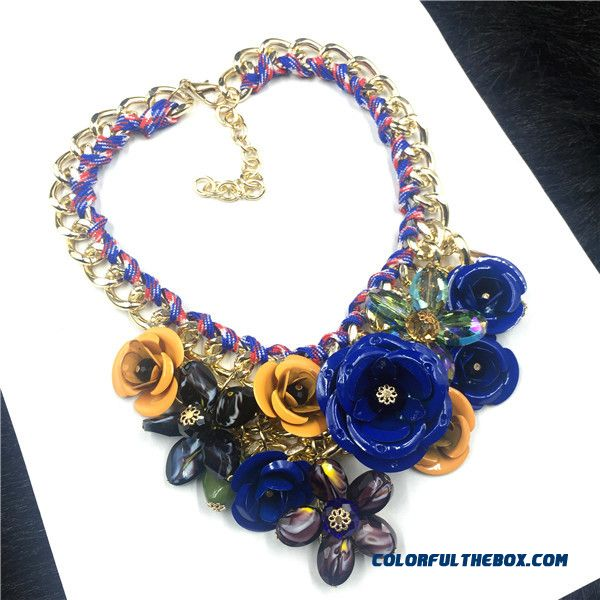 Fashion Women Exaggeration Purple Flowers Diamond Short Clavicle Chain Fine Jewelry