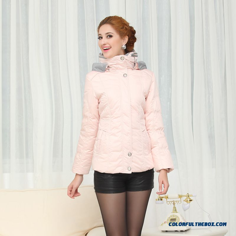 Fashionable Design Winter New Women's Down Jacke Thicken Plus Size Pink Long