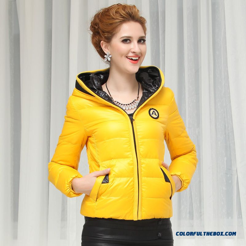 Fashionable Design Winter New Women's Hooded Coats Casual Short Slim Red Bright