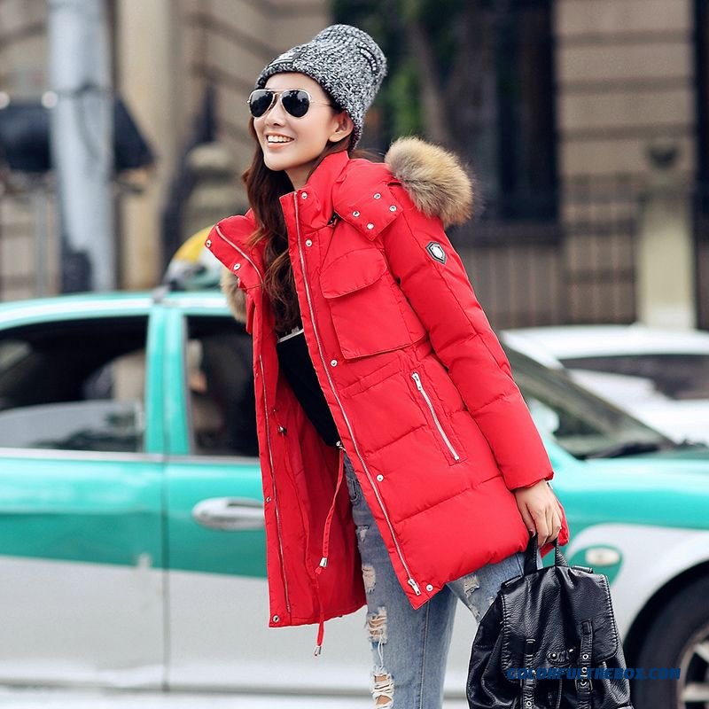 Female Coats Winter New Fur Collar Slim Large Medium Length Cotton-padded Clothes