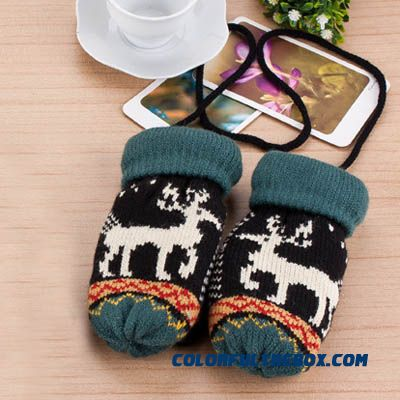 Free Shipping Knitted Wool Child Kids Boys And Girls Outdoor Warm Velvet Deer Full Finger Gloves Accessories