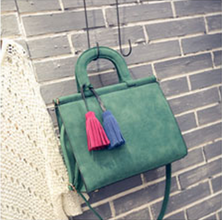 Free Shipping New Nubuck Women Bags Two-color Hit Colaor Tassel Pendant Casual Shoulder Bags