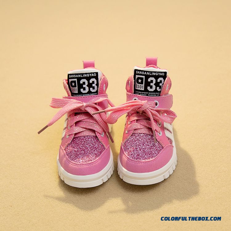 Girls Running Shoes Casual Shoes Sequined Board Sh Girls Running Shoes Casual Shoes Sequined Board Shoes Pink For Kidsoes Pink
