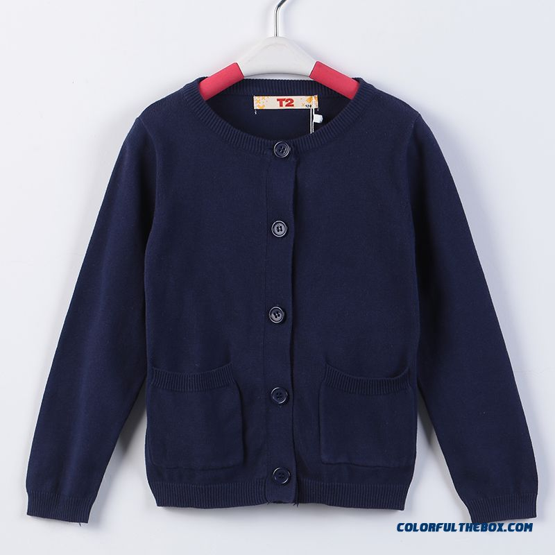 Girls Sweater Cardigan Sweater Jacket All-match Kids Clothing Kids Pure Color Low Price