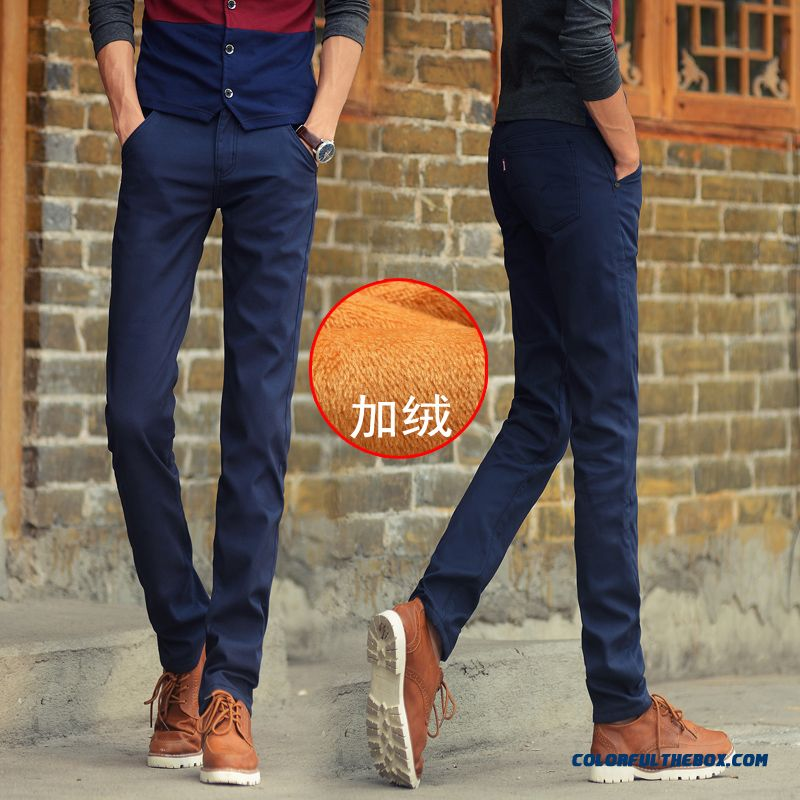 Gold Plus Velvet Winter Men's Casual Long Pants Slim Straight Cotton Clothing