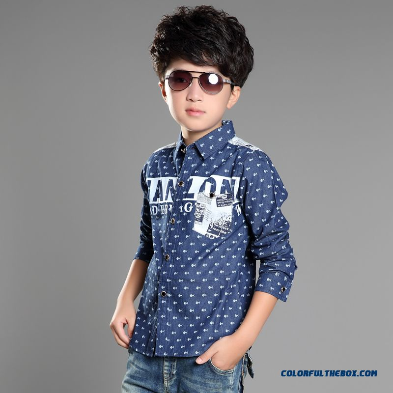 Handsome Boys Favorite Blouse & Shirt Blue Long Sleeves Laple Kids' Clothing On Sale