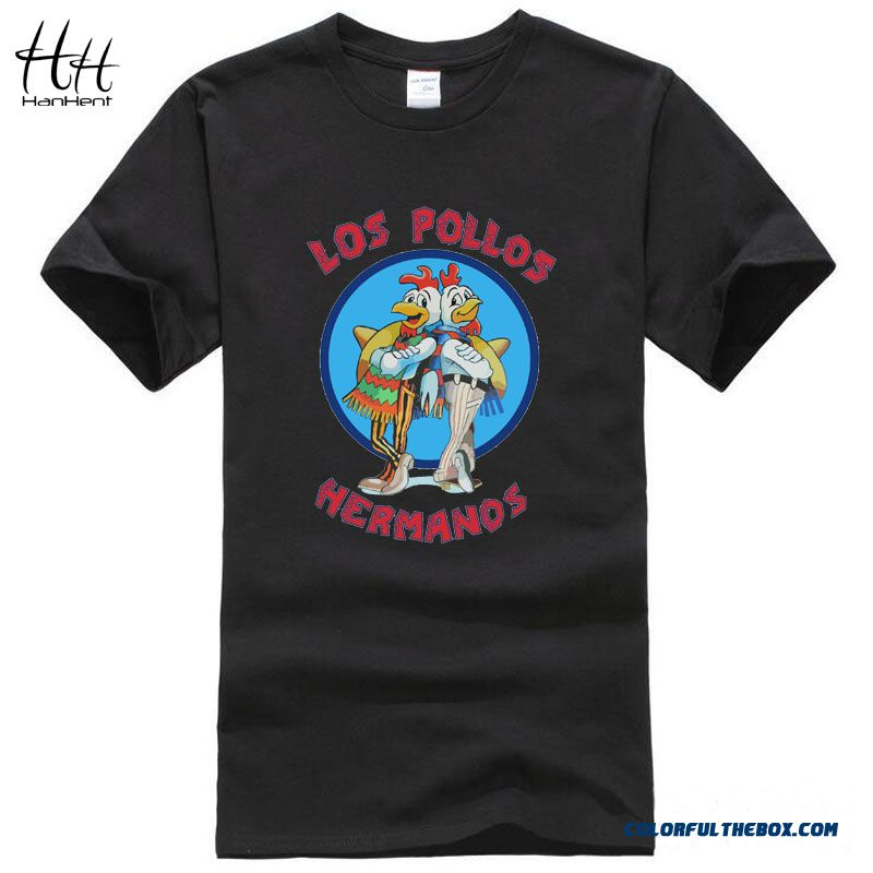 Hanhent Los Pollos Hermanos T Shirts Men Breaking Bad T-shirts Sitcoms  Summer Cotton Gym ... 9a4bcb54c761