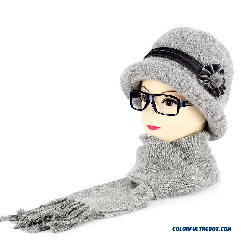 ... High Quality Fashionable Winter Hats For Old Women Warm Knitted Hat  Scarf Set On Sale ... e39805ae565