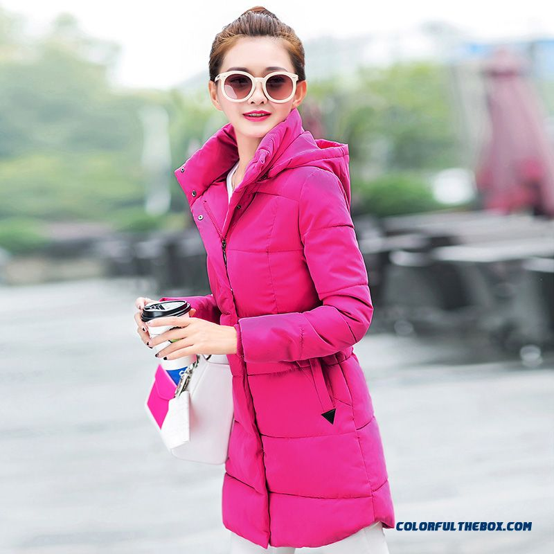 High Quality Hooded Coat Casual Clothes Medium Length Ladies Purple