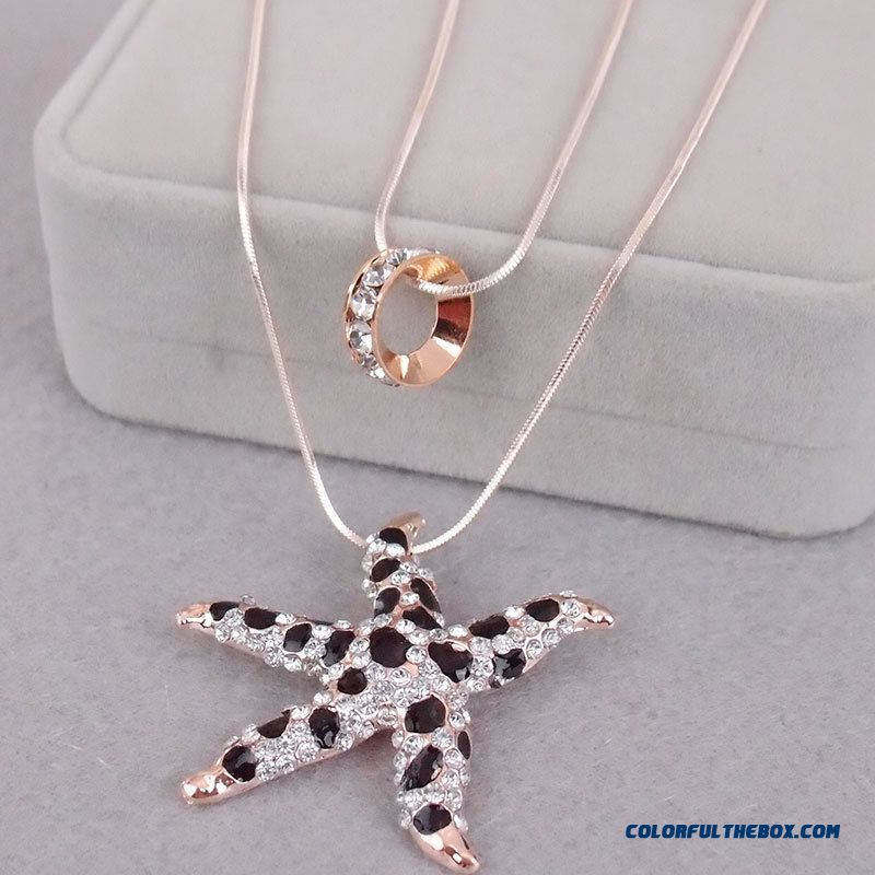 Cheap High End Diamond Crystal Double Gold Necklace Drop