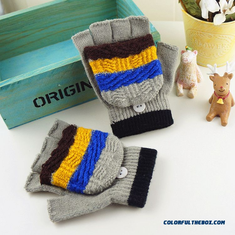 Kids Half-finger Clamshell Dual-purpose Boy Primary And Secondary Student Writing Fingerless Rabbit Wool Knit Winter Warm Gloves