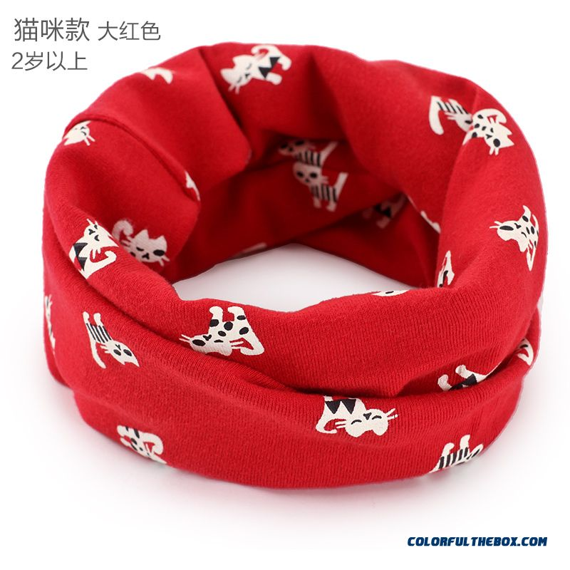 Korean Version Of Double Thick Kids Scarves Boys Girl Autumn Cotton Material Accessories