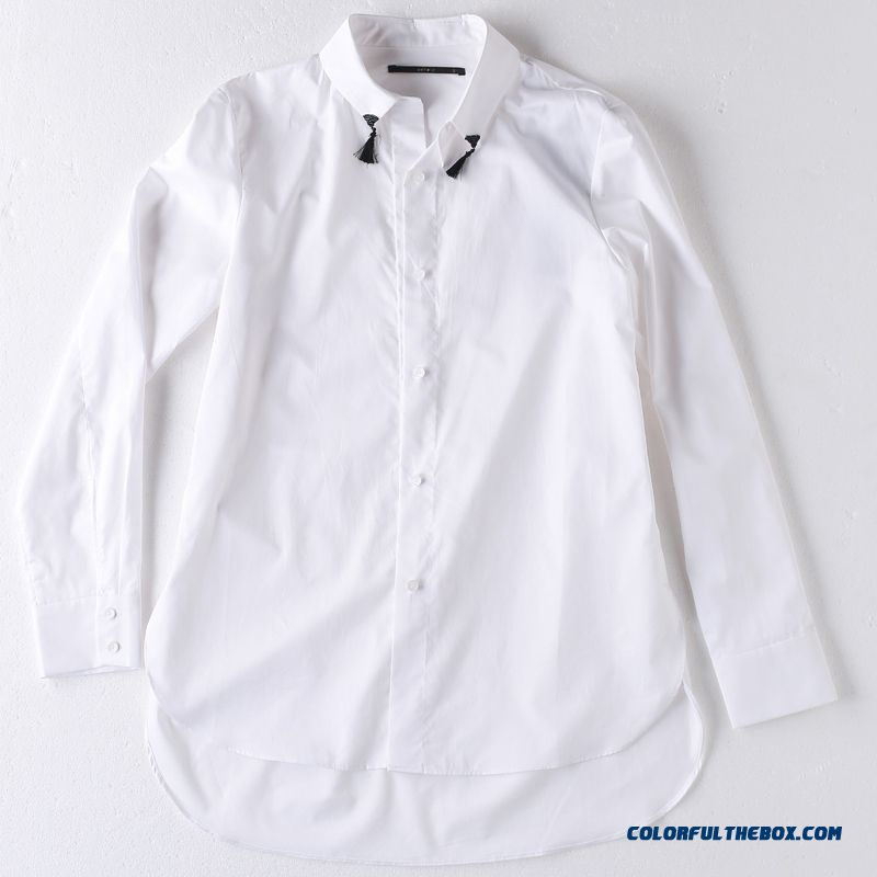 Lady Early Spring Simple Loose Cotton Clothes New Medium-long-sleeved Shirts Shirt Embroidered Beading